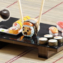 Pug sushiwithout noise.png Download STL file Pug Sushi • 3D printer object, QuetzArt