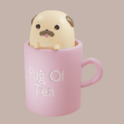 Download 3D printing designs Pug Mug, QuetzArt