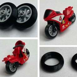 IMG_6390.JPG Download free STL file Lego city compatible motorbike racing tires • Object to 3D print, da_syggy