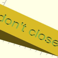 door_wedge.PNG Download free SCAD file customizable door wedge with text inlay • 3D printer object, pgraaff