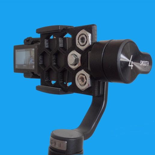 Foto2.jpg Download free STL file Action cam adapter for Zhiyun Smooth 4 • 3D print model, dancingchicken
