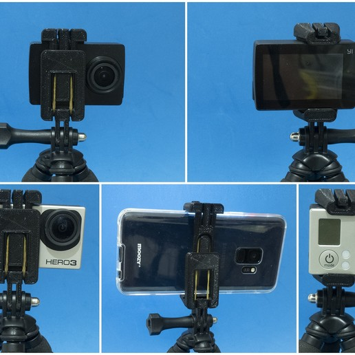 Download free STL file ActionCam/Phone holder with GoPro mount • 3D printing template, dancingchicken