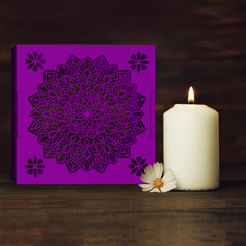 A RENDER.jpg Download OBJ file candle cover lamp mandala • 3D printable object, cspb79