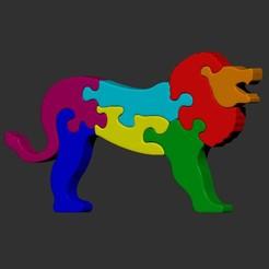 Download STL Lion puzzle jigsaw, cspb79