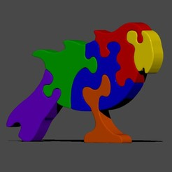 Parrot ren.jpg Download STL file Parrot jigsaw puzzle • 3D printable model, cspb79