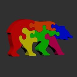 Bear re.jpg Download STL file Bear puzzle Jigsaw • 3D printing object, cspb79