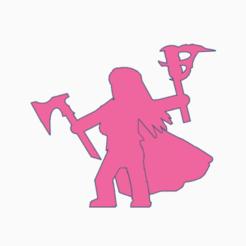Leena Axefire.png Télécharger fichier STL Hache à longs cheveux, torche Meeple • Modèle pour impression 3D, Ellie_Valkyrie