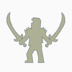 Double Sabre Knight.png Télécharger fichier STL Chevalier du double sabre Meeple • Objet pour impression 3D, Ellie_Valkyrie