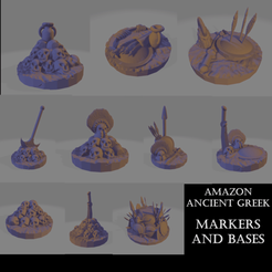 Amazon Markers.png Download STL file Amazonian Markers and Bases • 3D printable design, Ellie_Valkyrie