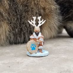Kneeling Drum Shaman.jpg Download STL file Ice Age Kneeling Drum Shaman • 3D printer template, Ellie_Valkyrie