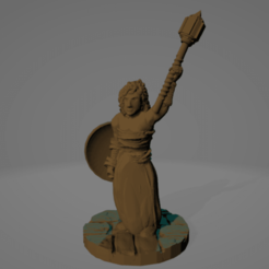 Mace Shieldmaiden.png Download STL file Supportless Shieldmaiden With Mace • Design to 3D print, Ellie_Valkyrie