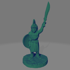 Amazon_Hoplite_Sword_Raised_Shield_Side.png Download free STL file Support-Free Amazon Hoplite with Kopis Sword • Model to 3D print, Ellie_Valkyrie