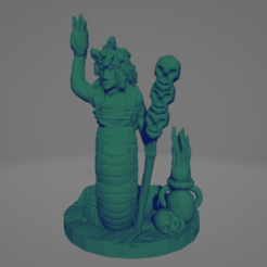 Gorgon Firecaller.png Download STL file Support-Free Gorgon Necromancer • 3D printable template, Ellie_Valkyrie