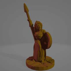 Shieldmaiden_With_Spear_Blank_Shield.png Download free STL file Support-Free Shieldmaiden With Spear • Template to 3D print, Ellie_Valkyrie
