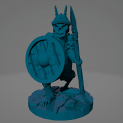 Spiky Helm Crouch Spear Shield Skeleton.png Download STL file Undead Northman Spear Warrior • 3D printing object, Ellie_Valkyrie