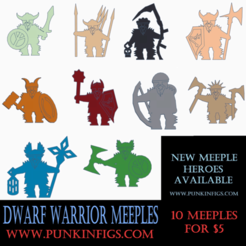 Dwarf Pack.png Download STL file Dwarf Warrior Meeple Pack • 3D printer model, Ellie_Valkyrie