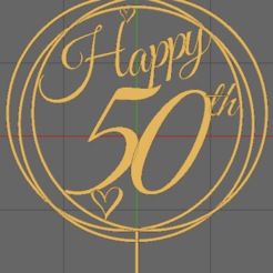 50th.png Download STL file Cake Topper • 3D printable object, TheAussieGonz