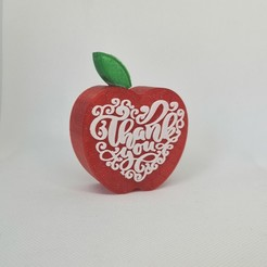 Download STL file Teacher Gift Thank You Apple • Object to 3D print, pjbdesign
