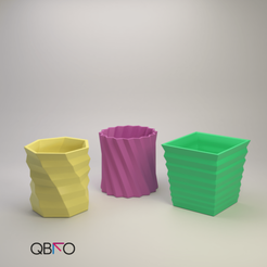 Productos cults (6).png Download STL file Abstract planters triiipack • 3D printing object, QBKO3D