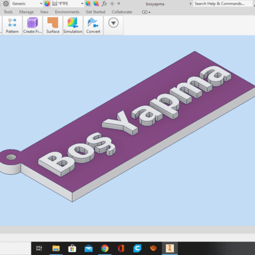 Ekran_Görüntüsü_493.png Télécharger fichier STL gratuit Boş Porte-clés Yapma - un porte-clés en turc (anahtarlık) • Design pour impression 3D, guvenonru