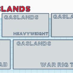 Download free 3D printing files Gaslands - Bases for All Vehicle sizes, Sablebadger
