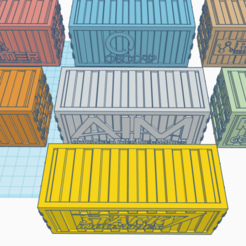 Download free STL Marvel Crisis - 40mm Shipping Containers with Logos, Sablebadger