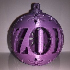 Download 3D printing templates Christmas ball First name ZOE, Vape