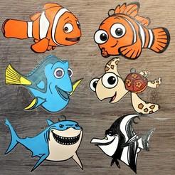 nemo all.jpg Download STL file Lot 6 Disney Ornaments the World of Nemo • 3D print design, DG22