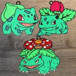 Télécharger modèle 3D 3 Ornements Pokemon Starter Gen 1 plante, DG22