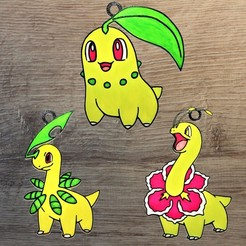 Starter plante gen 2.jpg Télécharger fichier STL Lot 3 ornements Pokemon Grass Starter gen 2 • Design à imprimer en 3D, DG22