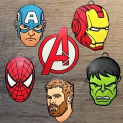 avengers.jpg Télécharger fichier STL Lot 6 ornements Marvel Avengers • Modèle imprimable en 3D, DG22