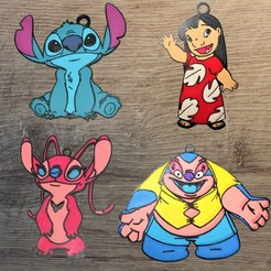 Télécharger fichier 3D Lot 4 ornements Disney Lilo et Stitch, DG22