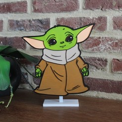 Download 3D printing designs BABY YODA STAND DECORATION PLATE, DG22