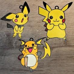 Descargar STL 3 adornos del equipo Pokemon Pikachu, DG22