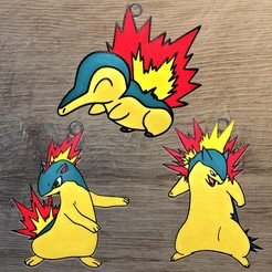 Pokemon gen 2 fire.jpg Download STL file Set 3 Pokemon Starter Fire Gen2 Ornaments • 3D printer design, DG22