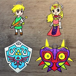 zelda all.jpg Télécharger fichier STL Lot 4 ornements Zelda • Objet imprimable en 3D, DG22