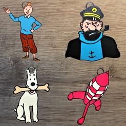 tintin all.jpg Télécharger fichier STL Lot 4 ornements Tintin • Design pour impression 3D, DG22