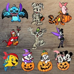 hallow.jpg Download STL file Lot 10 Disney Halloween Ornaments • 3D printer design, DG22