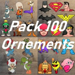 Pack 100.jpg Download STL file Pack of 100 Ornaments • 3D printable design, DG22