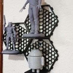 20200622_180015.jpg Download free STL file Modular hexagonal wall shelf • 3D printable template, 3DSJC