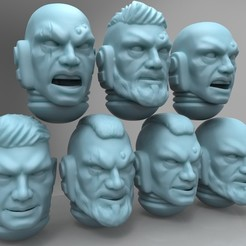 Download free STL file Space Soldier Heads - No helmets, mrmcangry