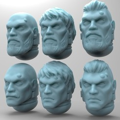 Download free STL file Space Soldier Heads - Set B • 3D print template, mrmcangry