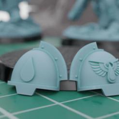 AggressorPads.png Download free STL file Primaris Aggressor Blood Angel Pads • 3D printable model, mrmcangry
