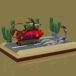 Download 3D print files Roadrunner Diorama STL, romwba