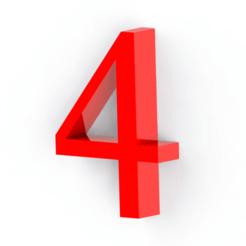 4.png Télécharger fichier STL Numéro 4 pour la décoration • Modèle à imprimer en 3D, Lubal