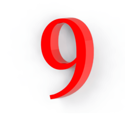 9.png Télécharger fichier STL gratuit Numéro 9 pour la décoration • Plan pour impression 3D, Lubal