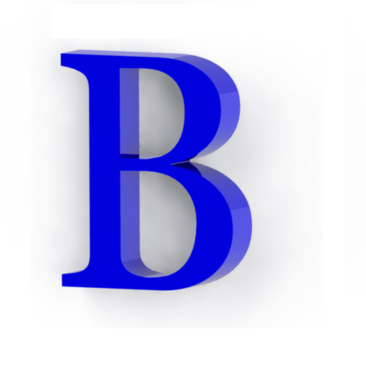 b3_large  D Letter B Template on cut out, printable box,