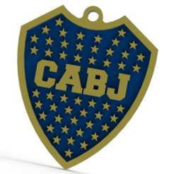 Sin título.png Download STL file Key ring of Boca Juniors • Design to 3D print, Lubal