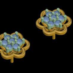 1 (2).png Download STL file Flower Earing with diamond • 3D printable template, rimpapramanik82