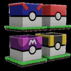 Maceta Pokebola 4 v1.png Télécharger fichier STL Pokeballs Pot Full Set (Pokeball, Greatball, Ultraball, Masterball) • Design imprimable en 3D, Arbros